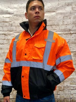 High Visibility 3 In 1 Black Bottom Bomber Jacket With Removable Black Fleece Liner With Silver Reflective Tape