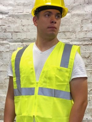 High Visibility Polymesh Vest With Zipper And Silver Reflective Tape