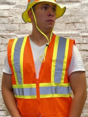 High Visibility Polymesh Vest With Zipper And 2 Tone Tape