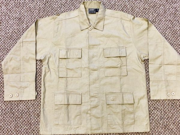 TAN COTTON RIPSTOP CARGO POCKET BUTTON DOWN L/S TOP