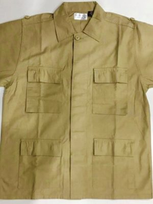 TAN COTTON RIPSTOP CARGO POCKET BUTTON DOWN S/S TOP